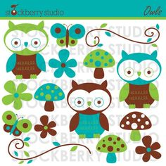 Owls Personal and Commerical Use Clipart Set  от stockberrystudio, $5.00