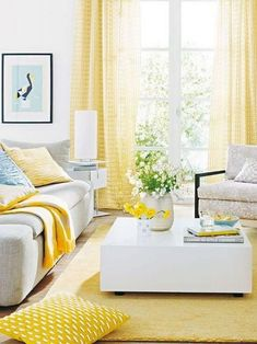 37 + Stylish Yellow Living Room Color Schemes Design Ideas - Home By X Good Living Room Colors, Colourful Living Room, Living Room Color Schemes, Living Room White, White Rooms, Living Room Paint, Living Room Designs, Living Room Yellow Curtains, Living Room Decor Yellow