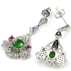 Hi End Emerald Sapphire Gemstone Earrings & AAA White CZ Weimaraner Rescue