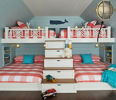 A fun and colorful lake house bunk room designed by Bayberry Cottage filled with custom details and clever storage solutions. House Of Turquoise, Bunk Rooms, Bunk Beds, Home And Deco, Coastal Living, Home Interior Design, Exterior Design, Interior Decorating, Custom Homes