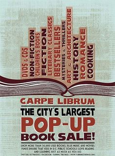 Carpe Librum - Largest Pop-Up Book Sale Used Books, Books To Read, Friends Of The Library, Pop Goes The Weasel, Romance Art, Sale Flyer, Up Book, Thriller Books, Do Love