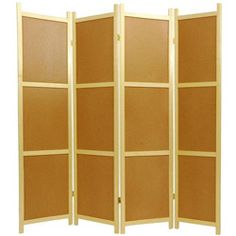 Wooden 6-foot 4-panel Cork Board Shoji Screen - I think I'll alternate cork with rice paper so I can pin things on one side but still have the translucent element