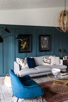 Simply Grove One Room Challenge Fall Modern eclectic living room with teal wall. Small Living Room Layout, Small Room Design, Elegant Living Room, Living Room Seating, Small Living Rooms, Living Room Modern, Home Living Room, Living Room Designs, Living Room Decor