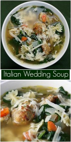 Italian Wedding Soup Recipe Originally From Ina Garten On Italian Wedding Soup Recipe, Italian Soup, Italian Recipes, Hearty Soup Recipes, Vegetable Soup Recipes, Chili Recipes, Food Network Recipes, Cooking Recipes, Healthy Recipes