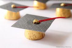 Graduation Favor Caps - Rolos, black construction paper, ribbon and glue.