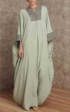 Sweeping Floor Length Caftan by Rami Al Ali Indian Fashion Dresses, Abaya Fashion, Muslim Fashion, Modest Fashion, Fashion Outfits, Fashion Ideas, Kaftan Designs, Mode Kimono, Mode Abaya