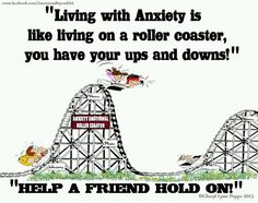 Alana, I thought this was a good picture for you to use to explain to friends and family how it may feel to have Generalized Anxiety Disorder. They may not understand all of the feelings you experience in a day, but this roller coaster can be a good metaphor for them to visualize.