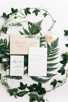 Greenery accented invitation suite: http://www.stylemepretty.com/new-york-weddings/new-york-city/2016/03/29/chic-manhattan-wedding-at-the-bowery-hotel/ | Photography: Trent Bailey - http://trent-bailey.com/