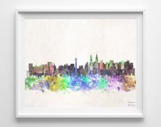 Kuala Lumpur Skyline Watercolor Print