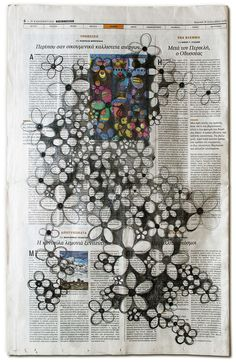 Maria Ikonomopoulou, ''Wall Papers'', 2013, drawing on newspapers,