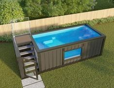Above Ground Pool Ideas - In the summer, people like spending few hours in the swimming pool. However, you may hate the way your above ground pool looks in your backyard. Small Backyard Pools, Backyard Pool Landscaping, Small Pools, Landscaping Ideas, Small Backyards, Container Home Designs, Shipping Container Swimming Pool, Shipping Container Homes, Shipping Containers