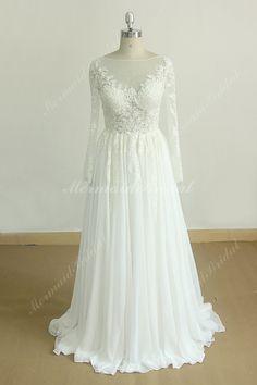 Unique Ivory chiffon lace wedding dress with long by MermaidBridal