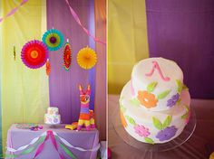 Mexican-inspired birthday party for a little girl. Love all the bright colors and the DIY cake! #mexican #fiesta #birthday #colorful #pinata #DIY