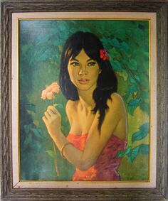 """Beautiful lithograph """"Tehura"""" by artist Walter Lambert, circa 1960's (from my personal collection)"""