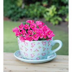 #Cute! #teapot #plant #pink #floral  Ceramic Teacup & Saucer Planter - Blue Floral £7.99 from B&M Stores