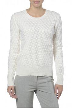Girocollo bianco. Maglia girocollo donna effetto intrecciato. 100% cashmere.