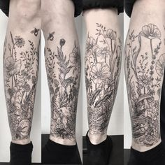 Nora's very own wildflower field with a dead bird and bugs and bees, from a few weeks back. Its hard to show every detail of this project… Botanisches Tattoo, Leg Tattoos, Flower Tattoos, Tattoo Legs, Tatoos, Leg Sleeve Tattoo, Sleeve Tattoos For Women, Tattoos For Guys, Nature Tattoo Sleeve