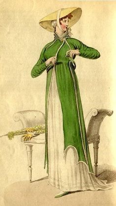 La Belle Assemblee, 1810. A Promenade Walking Dress A pelisse of green sarsnet, made to fit the shape, trimmed round with a narrow fancy trimming, cut with two scollops on the left side, on the right with one; fastened on the neck with a gold brooch, and confined round the waist with a girdle of the same, with gold clasp