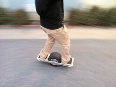A self-balancing one-wheeled electric skateboard. The hoverboard is here. http://www.onewheel.cc/