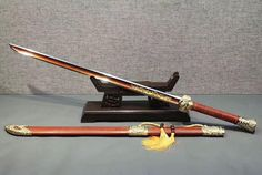 """Cut horse broadsword(High manganese steel blade,Red Scabbard,Brass fitting)Length 41"""""""