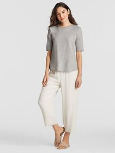 System Organic Cotton Jersey Melange Elbow-Sleeve Tee-EESOQ-T4368