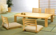Traditional Japanese Dining Room Furniture from Hara Design 2 - a lightweight, foldable version of these would go well in the tiny house if the main room were covered with tatami mats.