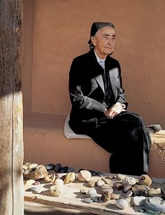 """Georgia O'Keeffe at her Ghost Ranch in New Mexico photographed by Robert Reck. """"To me it is the best place in the world,"""" O'Keeffe (at 94) said of Ghost Ranch. """"It has always been secluded and solitary. When I first went there, it was only one house with one room—which had a ghost living in it."""""""