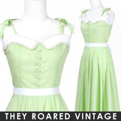 50s Vintage Dress Mint Lime Green White Lace by TheyRoaredVintage, $58.00