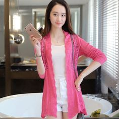 Lace Panel Loose Knit Cardigan