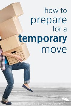 Have you found yourself in the situation where you must prepare for a temporary move? Choose what is worth the move. Determine what must be accessible. Pack in bankers boxes. Decide what could survive storage. Hold a moving sale. via and Rainy Days Moving Checklist, Moving Tips, Moving Hacks, Sell Your House Fast, Selling Your House, Unpacking Tips, Storage Rental, Temporary Storage, Temporary Housing