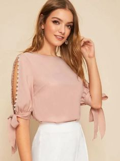 Solid Pearls Beading Side Knot Cuff Elegant Blouse W Source by iskulynets tienda Fall Collection, Chiffon, Side, Women Sleeve, Professional Women, Blouse Online, Elegant, Half Sleeves, Blouses For Women