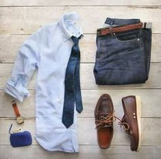 Outfit grid - Shirt, tie & jeans