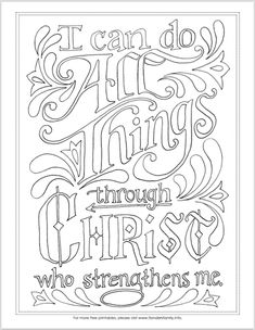 """""""I Can Do All Things"""" Coloring Page Free printable Scipture-based coloring pages Bible Verse Coloring Page, Coloring Book Pages, Printable Coloring Pages, Coloring Sheets, Scripture Art, Bible Art, Printable Scripture, Cuadros Diy, Bible Crafts"""