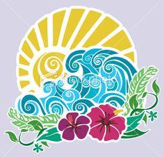 Hawaiian motif with sunset, waves, hibiscus and foliage. Hawaiian motif with sunset, waves, hibiscus and foliage. Hawaiian Art, Hawaiian Tattoo, Surf Art, Beach Art, Free Vector Art, Flat Design, Rock Art, Painting & Drawing, Art Drawings