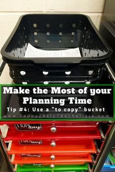 Make the Most of Your Planning time with these classroom ideas! Tons of tips that can be easily implemented so you can focus more on your lesson plans and lesson the paperwork! I really needed to hear tip number SLP Resources, Organization, Planning Classroom Organisation, Teacher Organization, Classroom Setup, Classroom Design, Teacher Hacks, Future Classroom, Classroom Management, Teacher Stuff, Organized Teacher