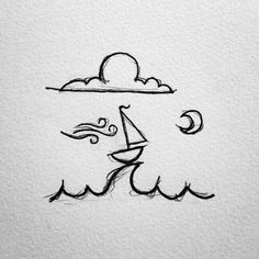 "562 Likes, 22 Comments - David Powell (@david_rollyn) on Instagram: ""A little sailboat I've drawn over the years. #drawing #doodle #doodling #penandink #micron #sketch…"""
