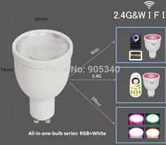 WIFI GU10 1.6million color change dimmable 2.4G led spot lamp 85-265V 4W RGB+W LED Bulb control by Iphone Ipad Android mi light
