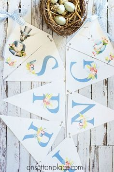 Download this Spring Easter Bunny Free Printable Banner. Print and cut out for instant Spring and Easter decor. Easter Bunny Banner | Spring Banner.