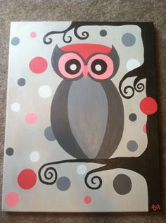 Easy Canvas Painting Ideas - Check out our latest collection of ideas featuring Super Easy DIY Canvas Painting Ideas For DIYSIDEAS. Simple Canvas Paintings, Easy Canvas Painting, Diy Canvas Art, Canvas Crafts, Painting For Kids, Diy Painting, Painting & Drawing, Owl Paintings, Do It Yourself Decoration