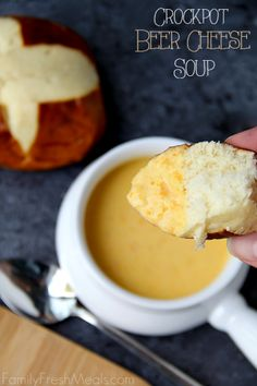 Crockpot Beer Cheese Soup -- Dip with  pretzel roll. I've always wanted to try this!