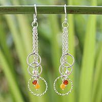 Cultured pearl and carnelian dangle earrings, 'Siam Chimes' from @NOVICA, They help #artisans succeed worldwide.