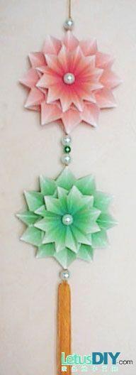 Korean paper folding-flower ball pendant -----LetusDIY.ORG|DIY Everything here