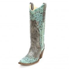 Corral Black Laser Overlay Cowgirl Boots