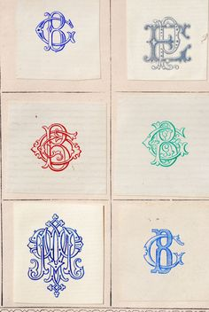 19th century French monograms via @Jennifer Kennard (Letterology)