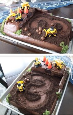 Construction site cake for birthday. Crushed Oreo dirt, chocolate pretzel ball boulders, Hershey's miniatures brick wall, broken candy rubble in the dump truck. Dump Truck Cakes, Truck Birthday Cakes, 3rd Birthday, Birthday Ideas, Kids Construction Cake, Construction Birthday Parties, Dirt Cake, Birthday Dinners, Party