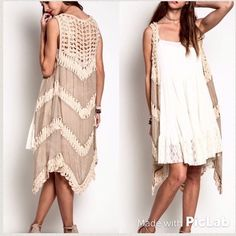Bohemian Crochet Vest  S M L This Beautiful crochet this is a lightweight material and can be styled with many different outfits. Color: Mocha. Sizes small medium and large available. To purchase: leave a comment below with size and I will create another listing for you. Tops