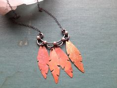 Feather Swag necklace  mixed metal silver copper by weathergirl