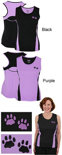 Purple Paw Quick-Dry Sport Tank Top at The Animal Rescue Site. Funds 14 bowls of food.