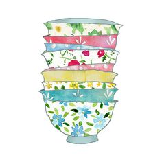 digital print, A Stack of Bowls, kitchen art ,Shabby chick ,Retro fun , illustration, wall decor, gift for women, mothers day