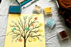 Baby shower idea - Have your guests put their fingerprint and signature on this family tree print.  Having mine framed!